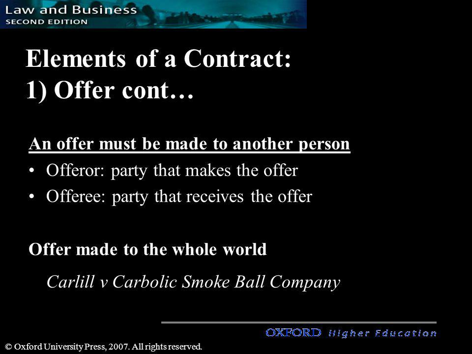 © Oxford University Press, 2007. All rights reserved. Elements of a Contract: 1) Offer cont… An offer must be made to another person Offeror: party th