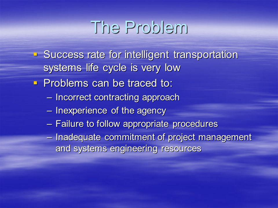 The Problem Success rate for intelligent transportation systems life cycle is very low Success rate for intelligent transportation systems life cycle is very low Problems can be traced to: Problems can be traced to: –Incorrect contracting approach –Inexperience of the agency –Failure to follow appropriate procedures –Inadequate commitment of project management and systems engineering resources