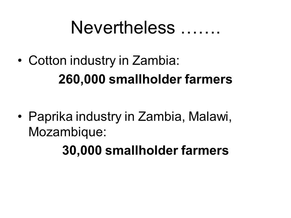Nevertheless ……. Cotton industry in Zambia: 260,000 smallholder farmers Paprika industry in Zambia, Malawi, Mozambique: 30,000 smallholder farmers