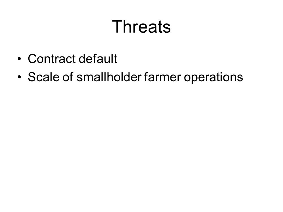 Threats Contract default Scale of smallholder farmer operations