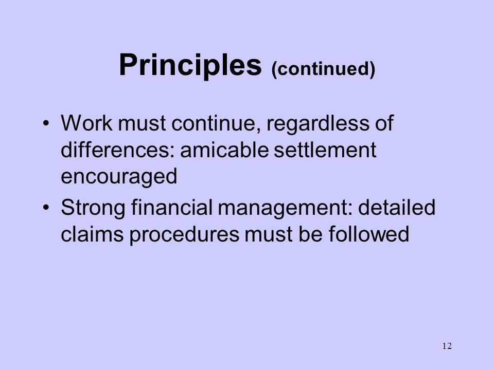 11 Principles (continued) Distinction between the Books is based on: –who does the design? –who bears the risk for change in quantities? EPC (Silver B