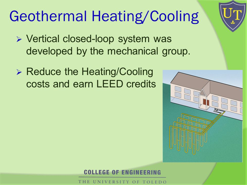 Geothermal Heating/Cooling Vertical closed-loop system was developed by the mechanical group.
