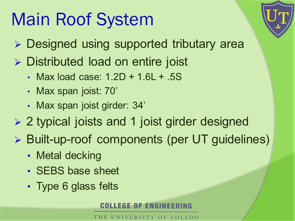 Main Roof System Designed using supported tributary area Distributed load on entire joist Max load case: 1.2D + 1.6L +.5S Max span joist: 70 Max span joist girder: 34 2 typical joists and 1 joist girder designed Built-up-roof components (per UT guidelines) Metal decking SEBS base sheet Type 6 glass felts