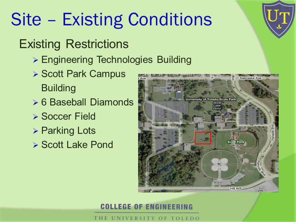 Site – Existing Conditions Existing Restrictions Engineering Technologies Building Scott Park Campus Building 6 Baseball Diamonds Soccer Field Parking Lots Scott Lake Pond