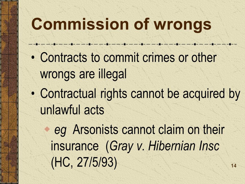 Commission of wrongs Contracts to commit crimes or other wrongs are illegal Contractual rights cannot be acquired by unlawful acts eg Arsonists cannot claim on their insurance ( Gray v.