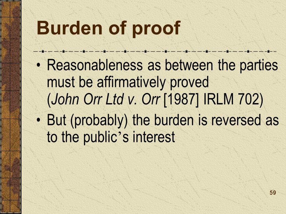 Burden of proof Reasonableness as between the parties must be affirmatively proved ( John Orr Ltd v.