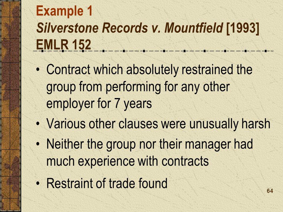 Example 1 Silverstone Records v.