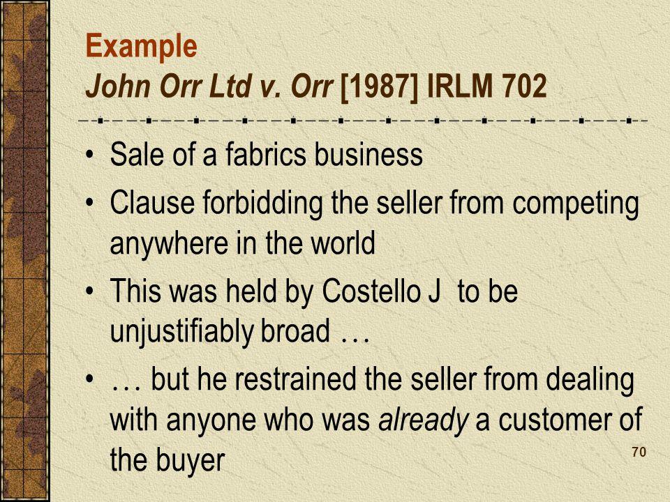 Example John Orr Ltd v.