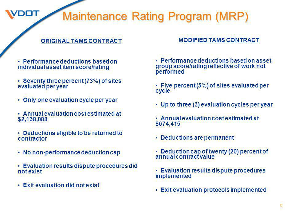 8 ORIGINAL TAMS CONTRACT Performance deductions based on individual asset item score/rating Seventy three percent (73%) of sites evaluated per year Only one evaluation cycle per year Annual evaluation cost estimated at $2,138,088 Deductions eligible to be returned to contractor No non-performance deduction cap Evaluation results dispute procedures did not exist Exit evaluation did not exist MODIFIED TAMS CONTRACT Performance deductions based on asset group score/rating reflective of work not performed Five percent (5%) of sites evaluated per cycle Up to three (3) evaluation cycles per year Annual evaluation cost estimated at $674,415 Deductions are permanent Deduction cap of twenty (20) percent of annual contract value Evaluation results dispute procedures implemented Exit evaluation protocols implemented Maintenance Rating Program (MRP)