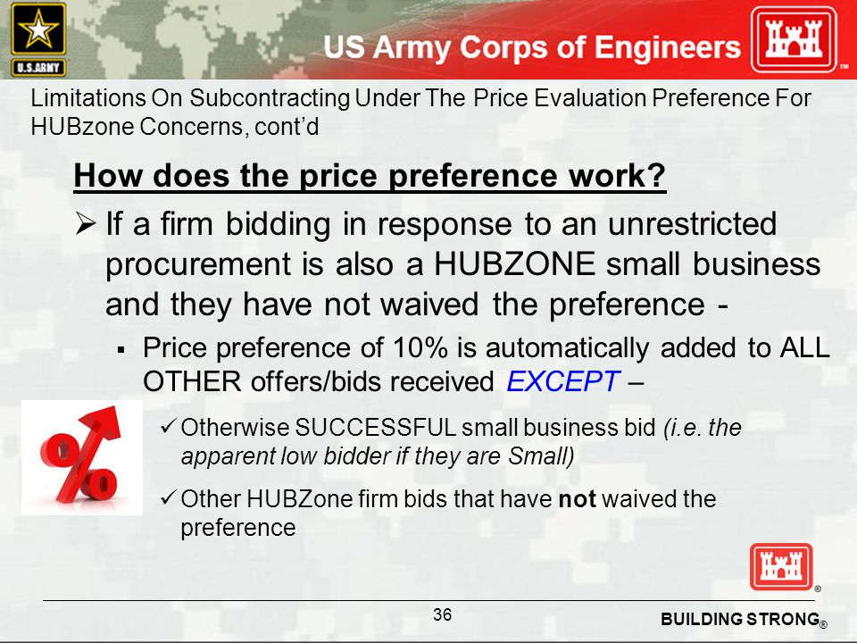 BUILDING STRONG ® How does the price preference work.