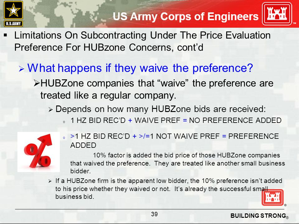 BUILDING STRONG ® Limitations On Subcontracting Under The Price Evaluation Preference For HUBzone Concerns, contd What happens if they waive the preference.