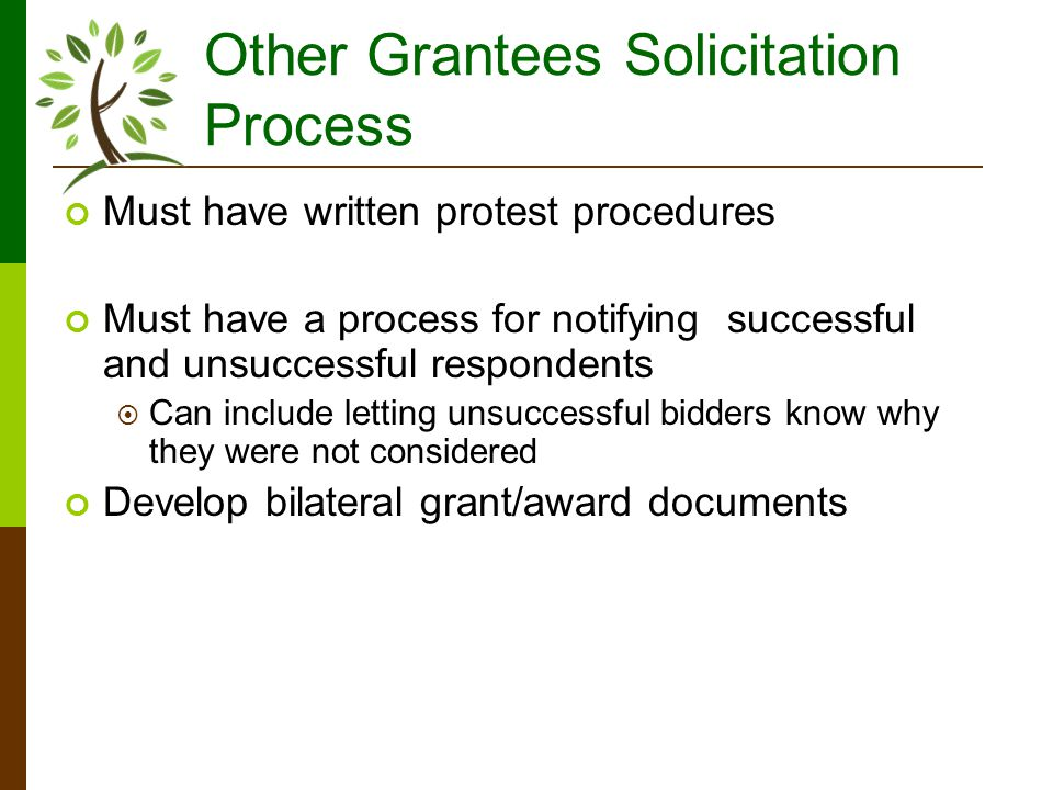Other Grantees Solicitation Process Must have written protest procedures Must have a process for notifying successful and unsuccessful respondents Can include letting unsuccessful bidders know why they were not considered Develop bilateral grant/award documents