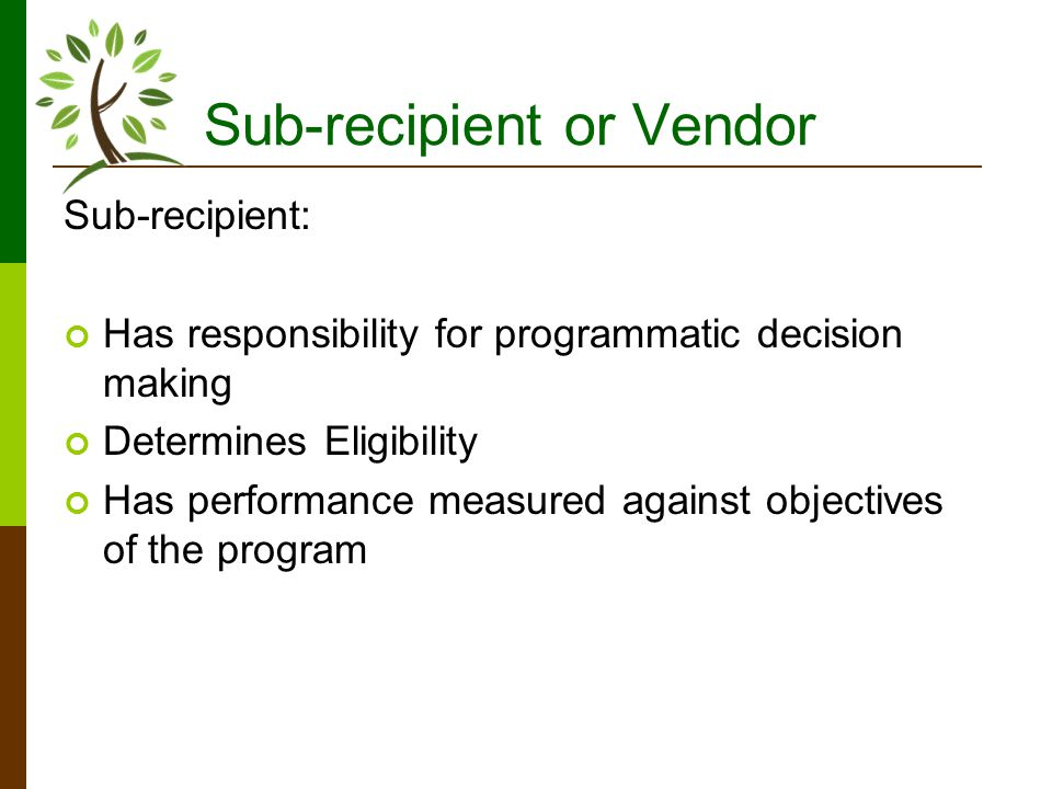 Sub-recipient or Vendor Sub-recipient: Has responsibility for programmatic decision making Determines Eligibility Has performance measured against objectives of the program