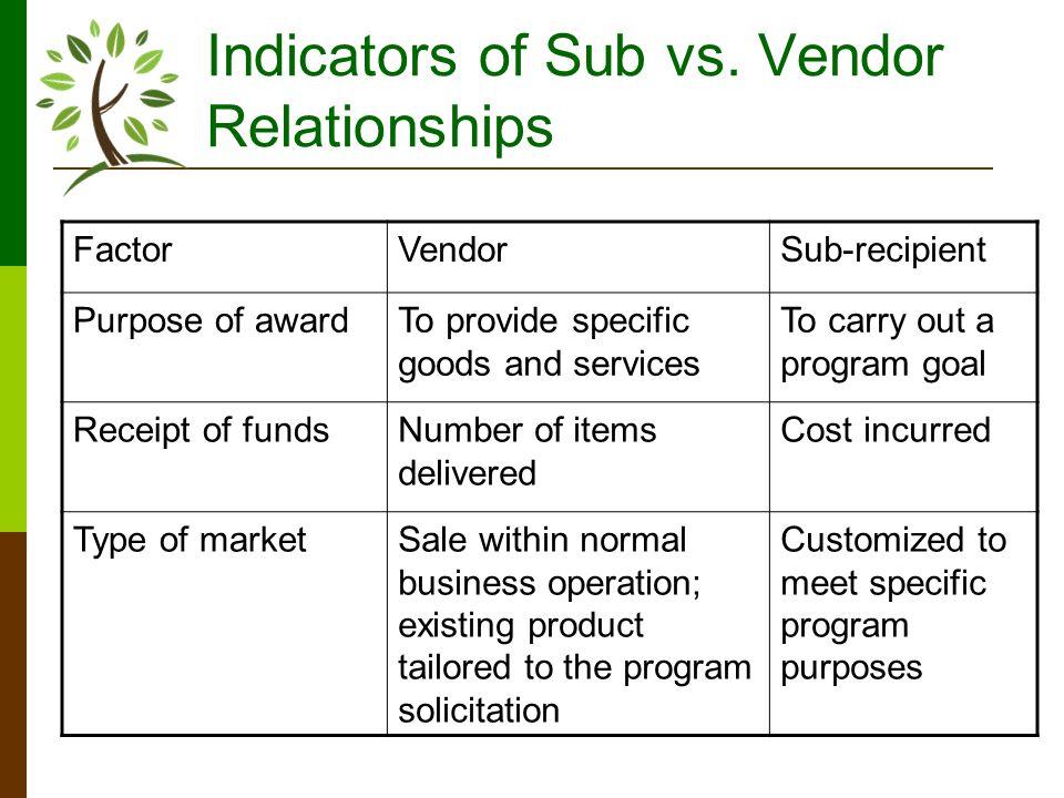 Indicators of Sub vs.