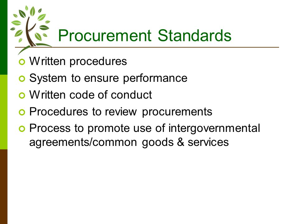 Procurement Standards Written procedures System to ensure performance Written code of conduct Procedures to review procurements Process to promote use of intergovernmental agreements/common goods & services