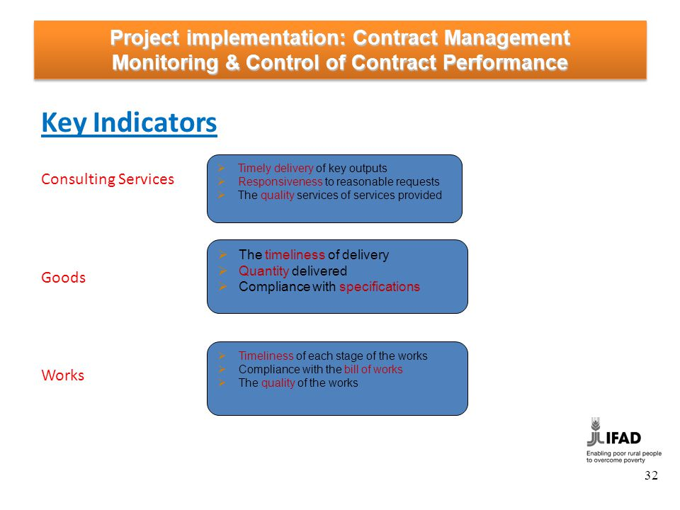 Project implementation: Contract Management Monitoring & Control of Contract Performance Key Indicators Consulting Services Goods Works Timely deliver