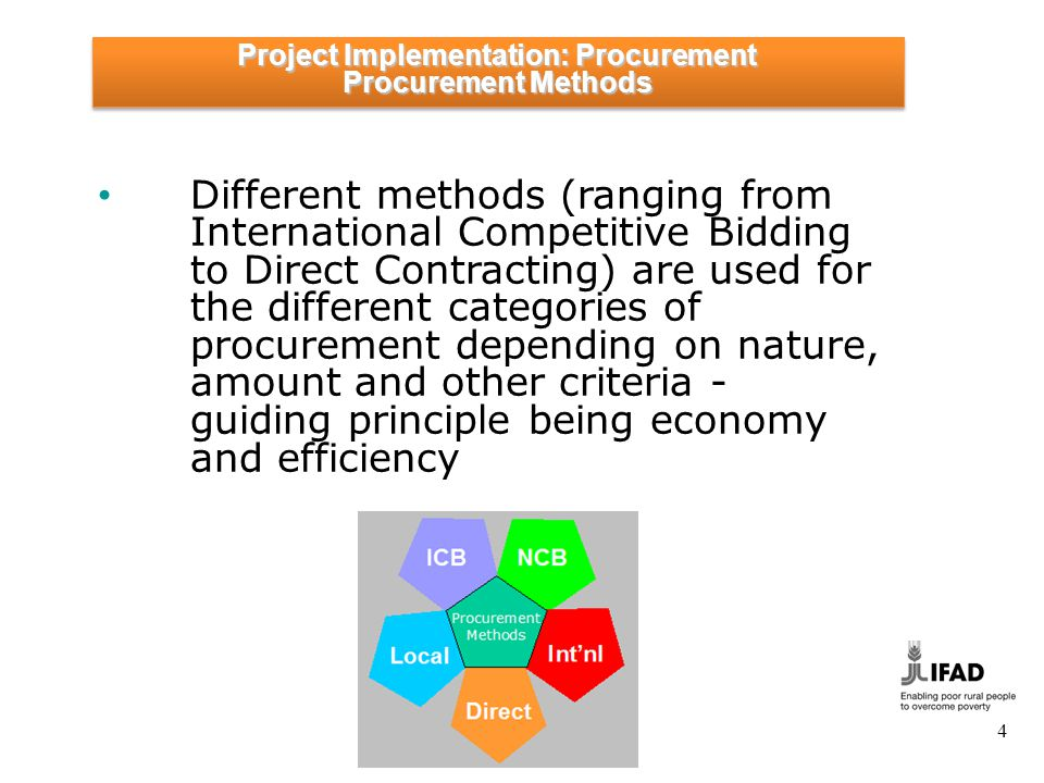 4 Different methods (ranging from International Competitive Bidding to Direct Contracting) are used for the different categories of procurement depend