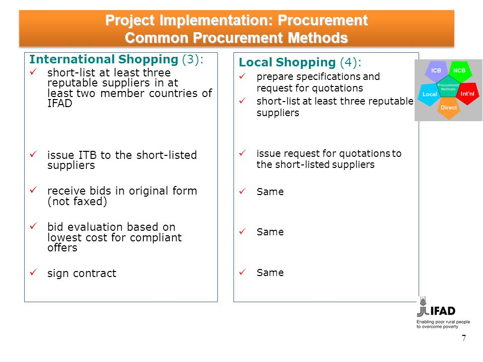 7 Project Implementation: Procurement Common Procurement Methods International Shopping (3): short-list at least three reputable suppliers in at least