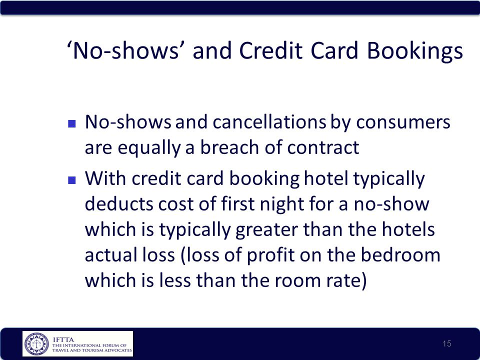 No-shows and Credit Card Bookings No-shows and cancellations by consumers are equally a breach of contract With credit card booking hotel typically deducts cost of first night for a no-show which is typically greater than the hotels actual loss (loss of profit on the bedroom which is less than the room rate) 15
