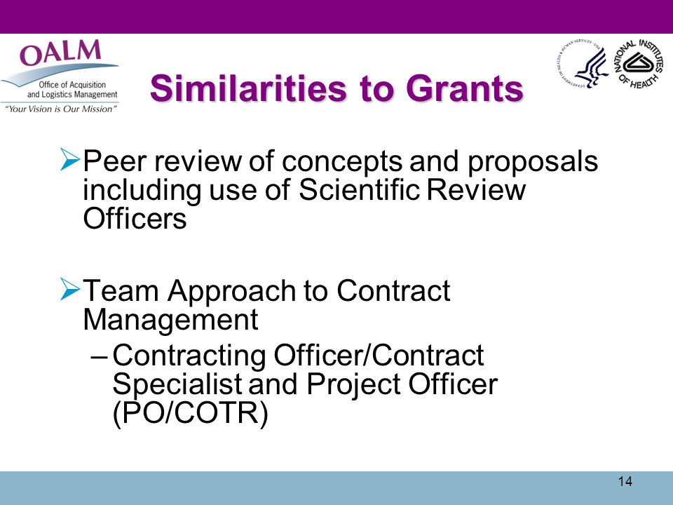 14 Similarities to Grants Peer review of concepts and proposals including use of Scientific Review Officers Team Approach to Contract Management –Cont