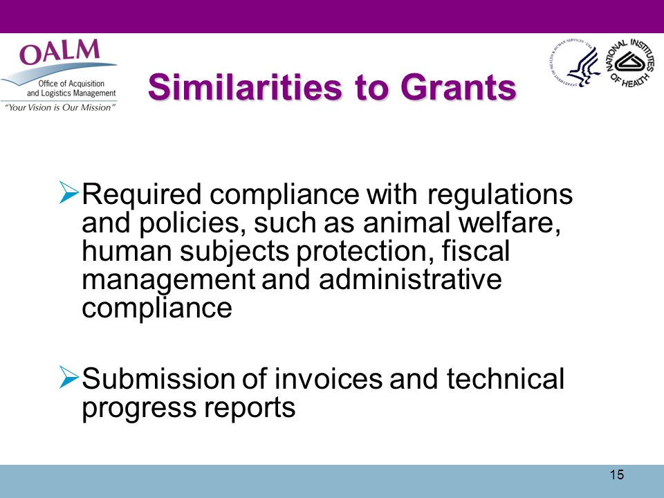 15 Similarities to Grants Required compliance with regulations and policies, such as animal welfare, human subjects protection, fiscal management and