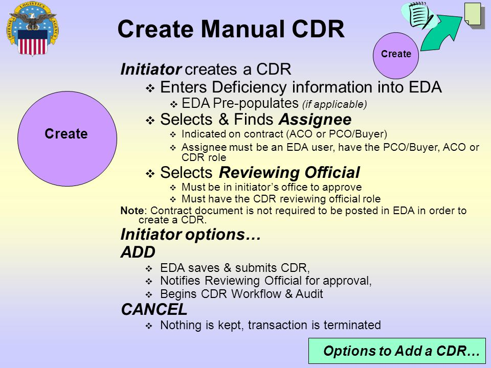 13 Create Create Manual CDR Options to Add a CDR… Initiator creates a CDR Enters Deficiency information into EDA EDA Pre-populates (if applicable) Sel