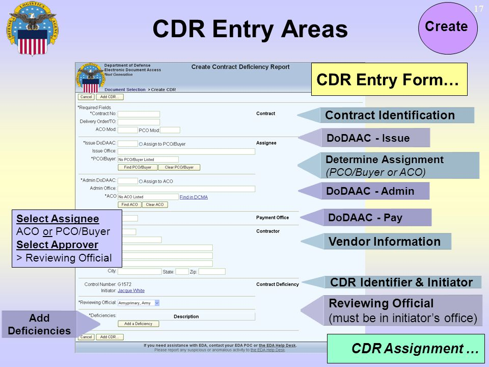 17 CDR Entry Areas Create CDR Entry Form… Contract Identification DoDAAC - Issue Vendor Information Reviewing Official (must be in initiators office)