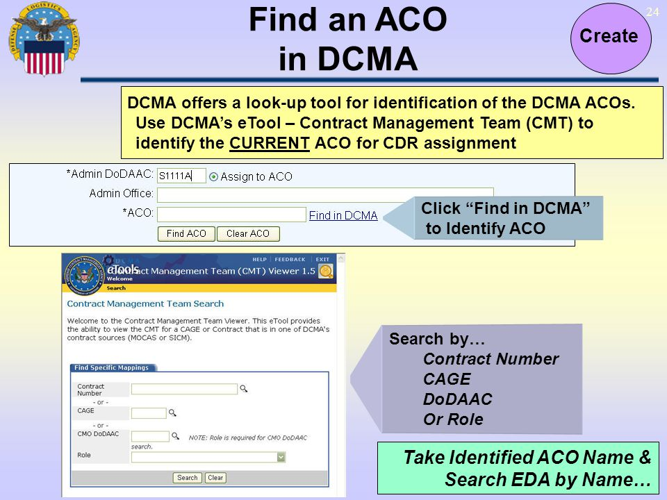 24 Find an ACO in DCMA Create DCMA offers a look-up tool for identification of the DCMA ACOs. Use DCMAs eTool – Contract Management Team (CMT) to iden