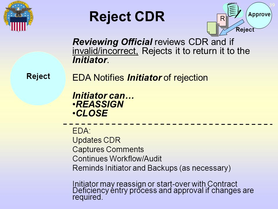39 Reject CDR Reviewing Official reviews CDR and if invalid/incorrect, Rejects it to return it to the Initiator. EDA Notifies Initiator of rejection I