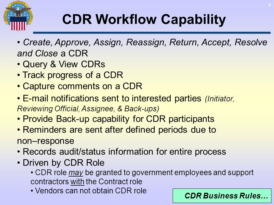 45 From: CDR Administrator Sent: Fri 11/10/2008 12:44 PM To: Cc:,, Subject: Reminder 1 - Assigned CDR Control # G1519:1 Importance: High, This is a reminder that Contract Deficiency Report #G1519:1 has been assigned to you for resolution and has been waiting for action by you for 3 days.