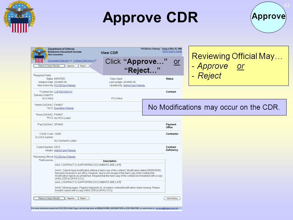 42 Approve CDR Approve Click Approve… or Reject… Reviewing Official May… - Approve or - Reject No Modifications may occur on the CDR.