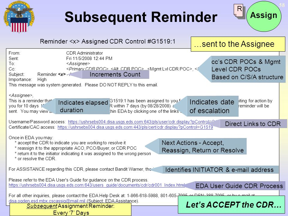 58 From:CDR Administrator Sent:Fri 11/5/2008 12:44 PM To: Cc:,,, Subject:Reminder - Assigned CDR Control # G1519:1 Importance:High This message was sy