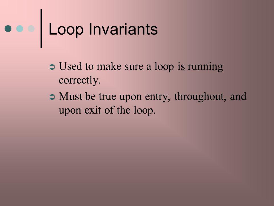 Loop Invariants Used to make sure a loop is running correctly.
