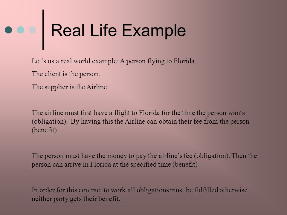 Real Life Example Lets us a real world example: A person flying to Florida.