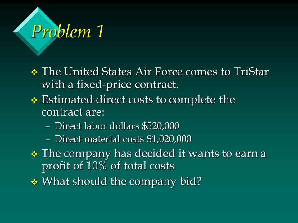 Problem 1 v The United States Air Force comes to TriStar with a fixed-price contract. v Estimated direct costs to complete the contract are: –Direct l