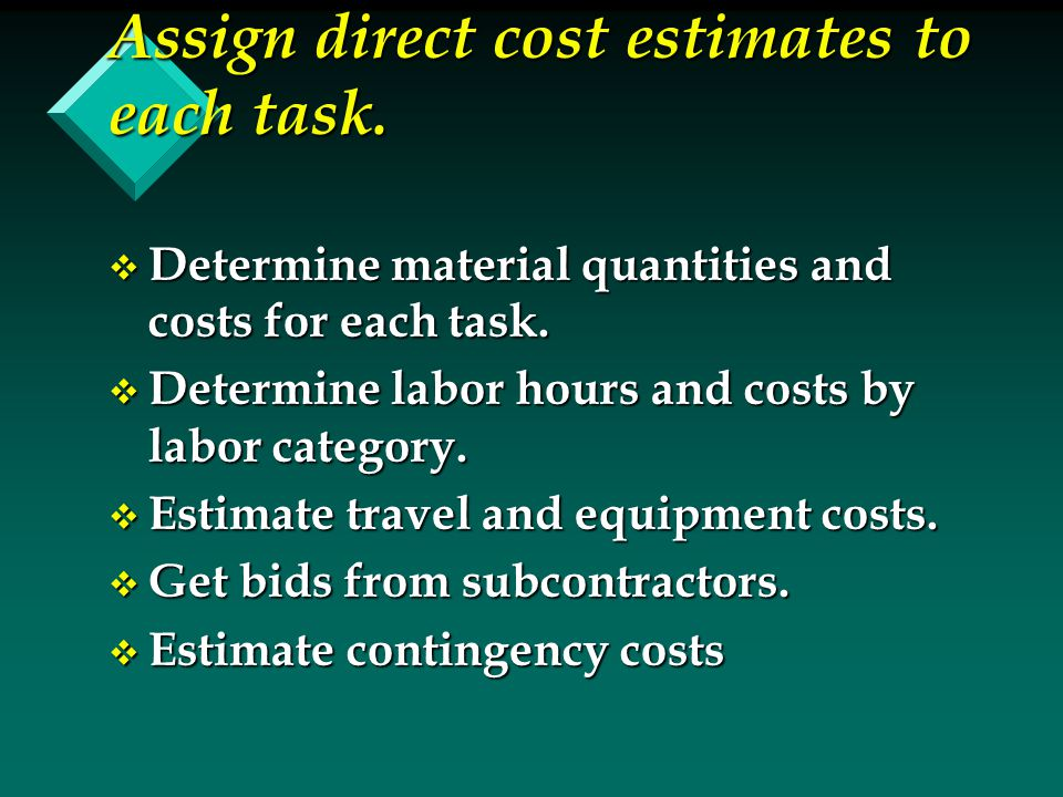 Assign direct cost estimates to each task. v Determine material quantities and costs for each task. v Determine labor hours and costs by labor categor