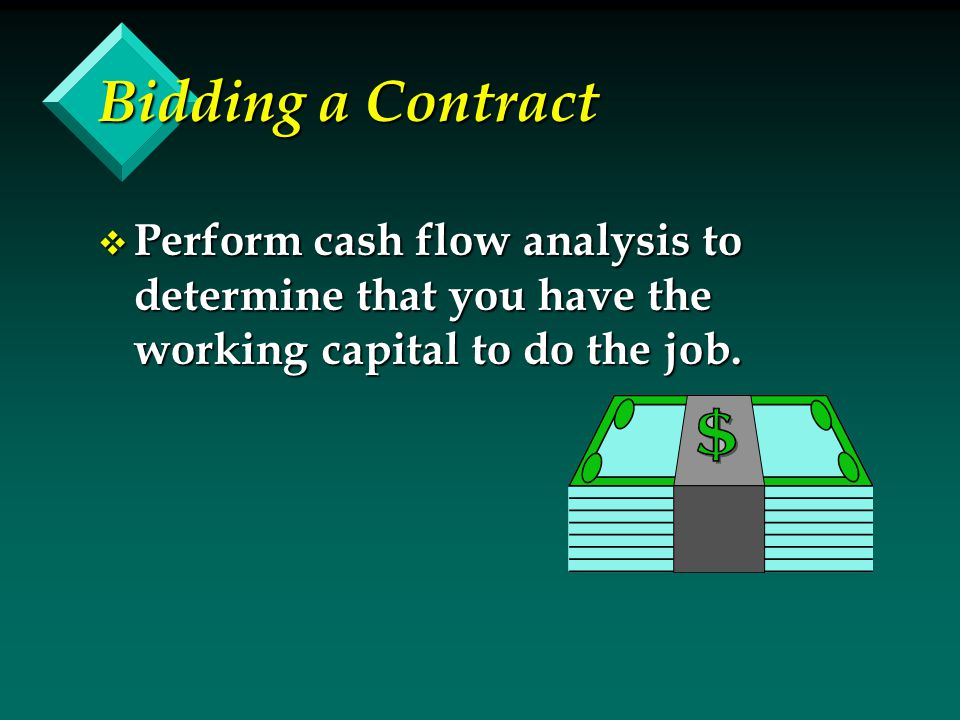 Bidding a Contract v Perform cash flow analysis to determine that you have the working capital to do the job.
