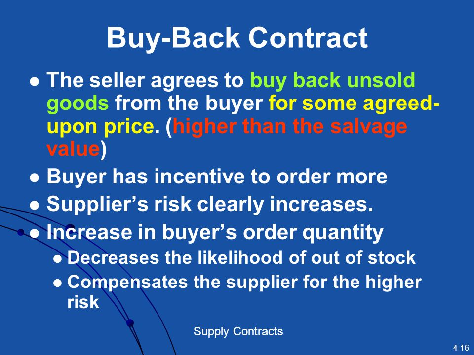 4-16 Supply Contracts Buy-Back Contract The seller agrees to buy back unsold goods from the buyer for some agreed- upon price. (higher than the salvag