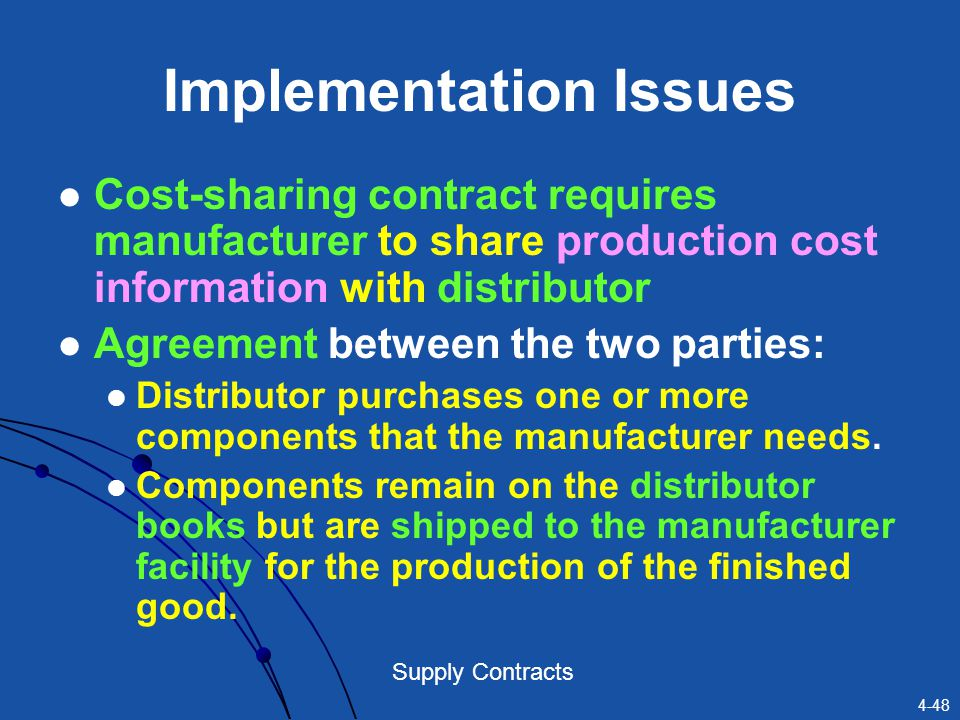 4-48 Supply Contracts Implementation Issues Cost-sharing contract requires manufacturer to share production cost information with distributor Agreemen