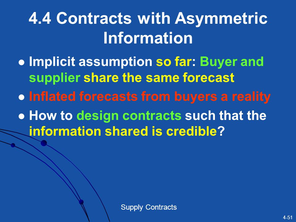 4-51 Supply Contracts 4.4 Contracts with Asymmetric Information Implicit assumption so far: Buyer and supplier share the same forecast Inflated foreca