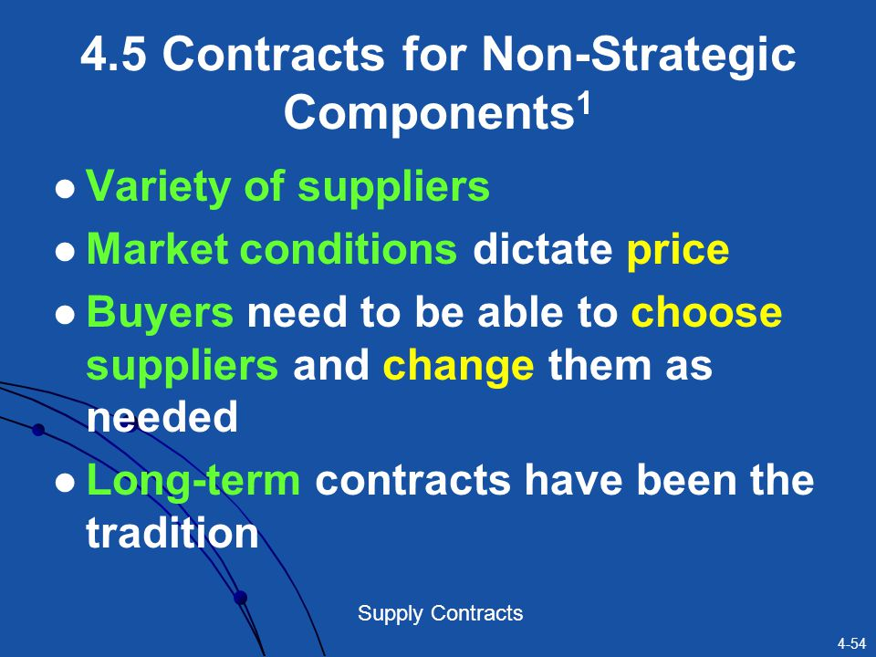 4-54 Supply Contracts 4.5 Contracts for Non-Strategic Components 1 Variety of suppliers Market conditions dictate price Buyers need to be able to choo