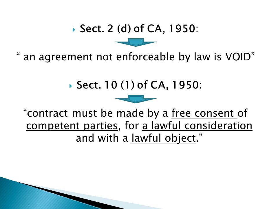 Sect. 2 (d) of CA, 1950: an agreement not enforceable by law is VOID Sect. 10 (1) of CA, 1950: contract must be made by a free consent of competent pa