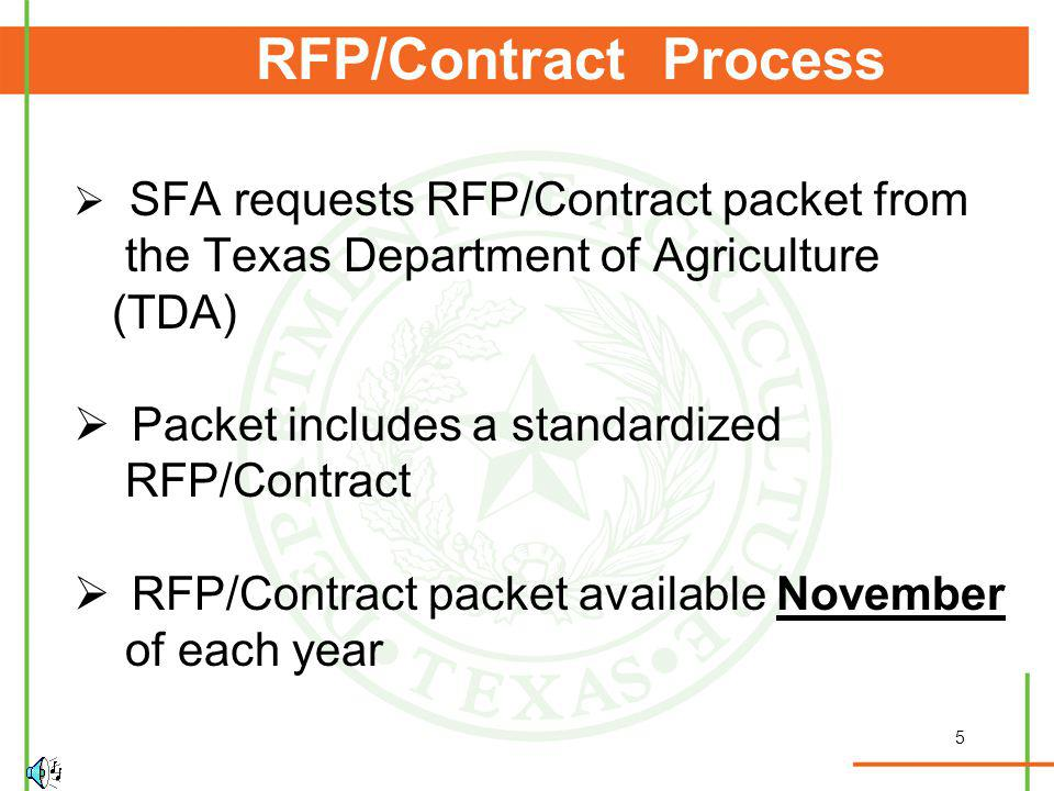 5 RFP/Contract Process SFA requests RFP/Contract packet from the Texas Department of Agriculture (TDA) Packet includes a standardized RFP/Contract RFP/Contract packet available November of each year
