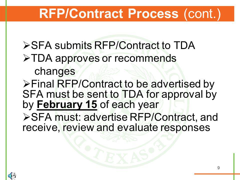 9 RFP/Contract Process (cont.) SFA submits RFP/Contract to TDA TDA approves or recommends changes Final RFP/Contract to be advertised by SFA must be s