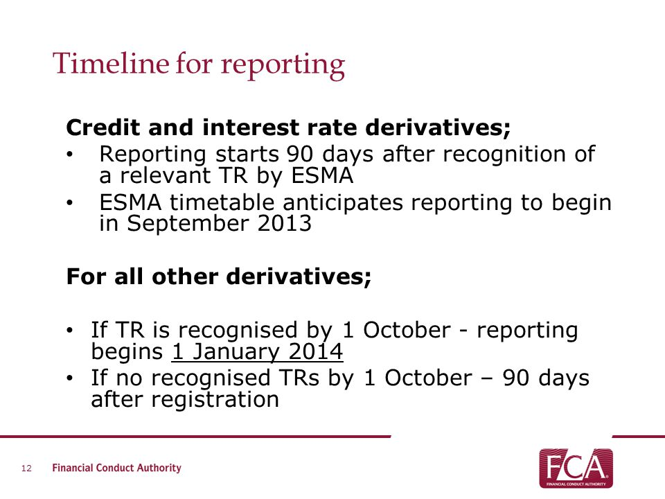 Timeline for reporting Credit and interest rate derivatives; Reporting starts 90 days after recognition of a relevant TR by ESMA ESMA timetable antici