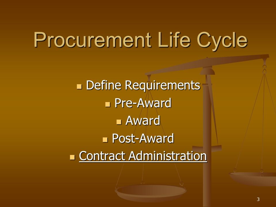 3 Procurement Life Cycle Define Requirements Define Requirements Pre-Award Pre-Award Award Award Post-Award Post-Award Contract Administration Contrac