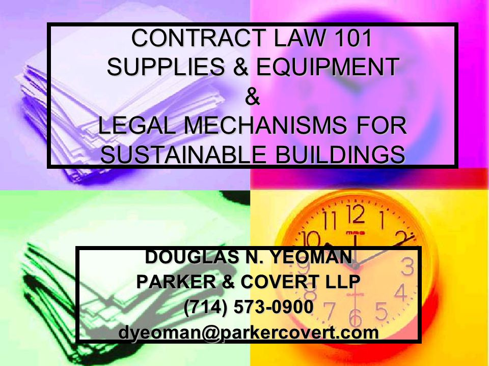 INTRODUCTION The typical Purchasing or Facilities Department is faced on a daily basis with issues involving various types of contracts.