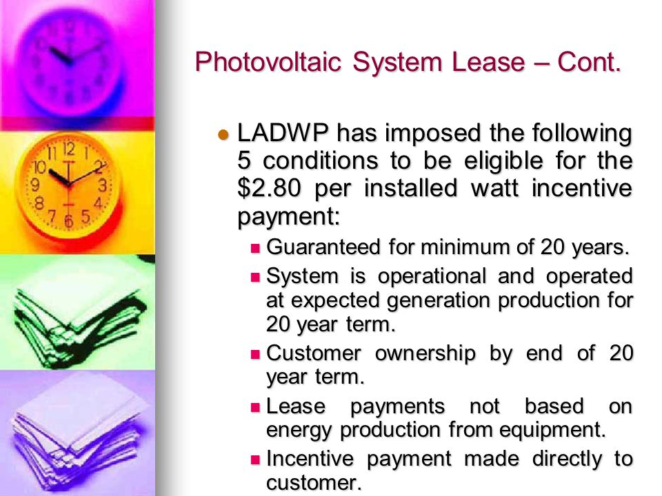 Photovoltaic System Lease – Cont.