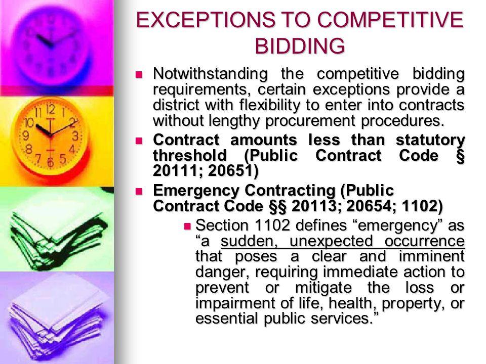 GENERAL BIDDING PRINCIPLES – Cont.Transportation Contracts (Ed.