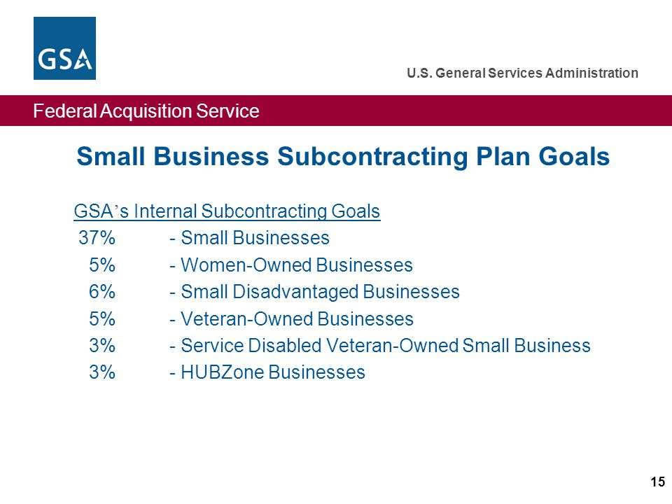Federal Acquisition Service U.S. General Services Administration 15 Small Business Subcontracting Plan Goals GSA s Internal Subcontracting Goals 37% -